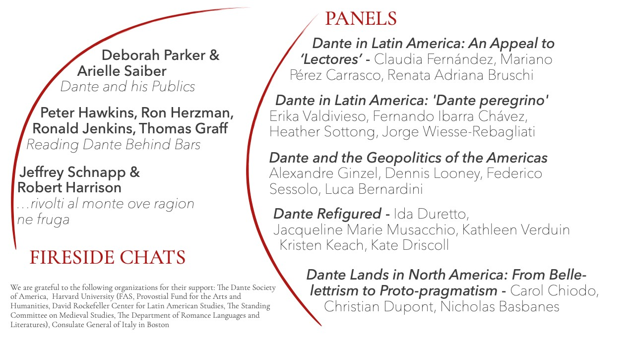 Dante for the Americas poster - panels and fireside chats