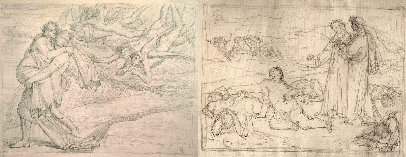 Friedrich Geselschap, compositions on Dante, ca. 1853, pen and ink on paper.