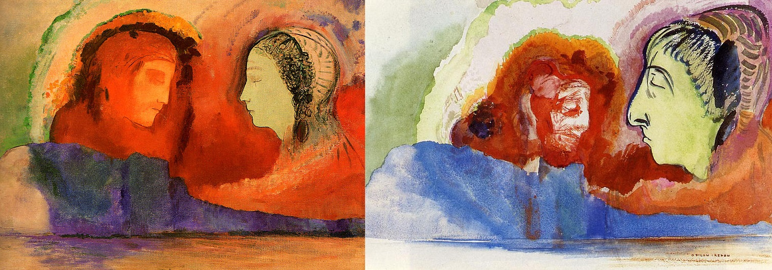 "Odilon Redon, ""Dante et Beatrice"" and ""La Vision de Dante,"" ca. 1914, watercolor on paper."