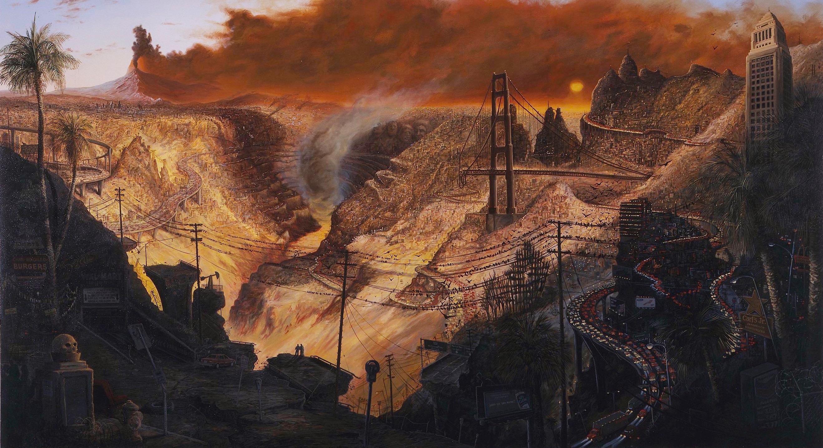 """Sandow Birk, """"Inferno,"""" 2003, oil on canvas."""
